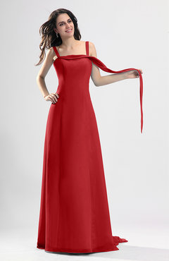 Red Simple Column Thick Straps Sleeveless Chiffon Pleated Wedding Guest Dresses