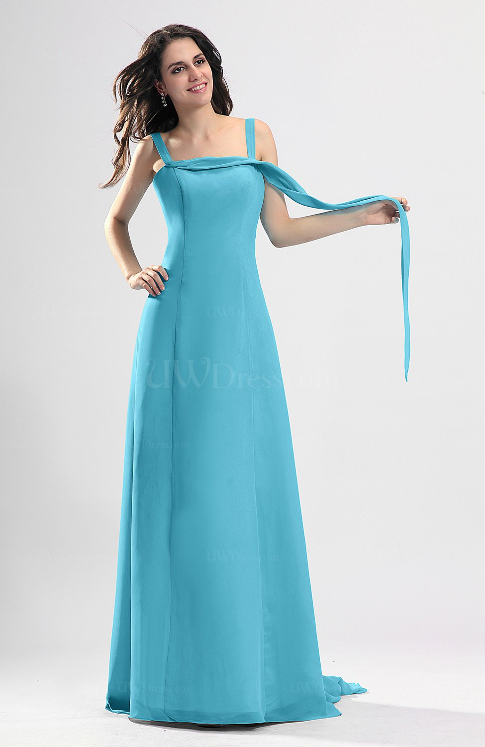 Turquoise simple column thick straps sleeveless chiffon for Turquoise wedding guest dress