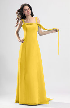 Yellow Simple Column Thick Straps Sleeveless Chiffon Pleated Wedding Guest Dresses