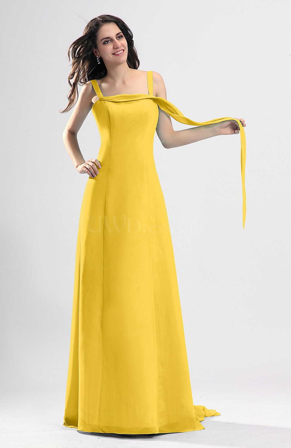 Yellow simple column thick straps sleeveless chiffon for Yellow wedding guest dress