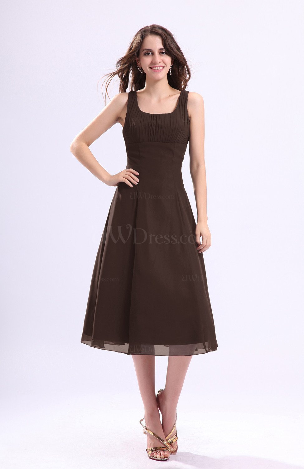 Chocolate brown simple a line square sleeveless zip up for Brown dresses for wedding guest