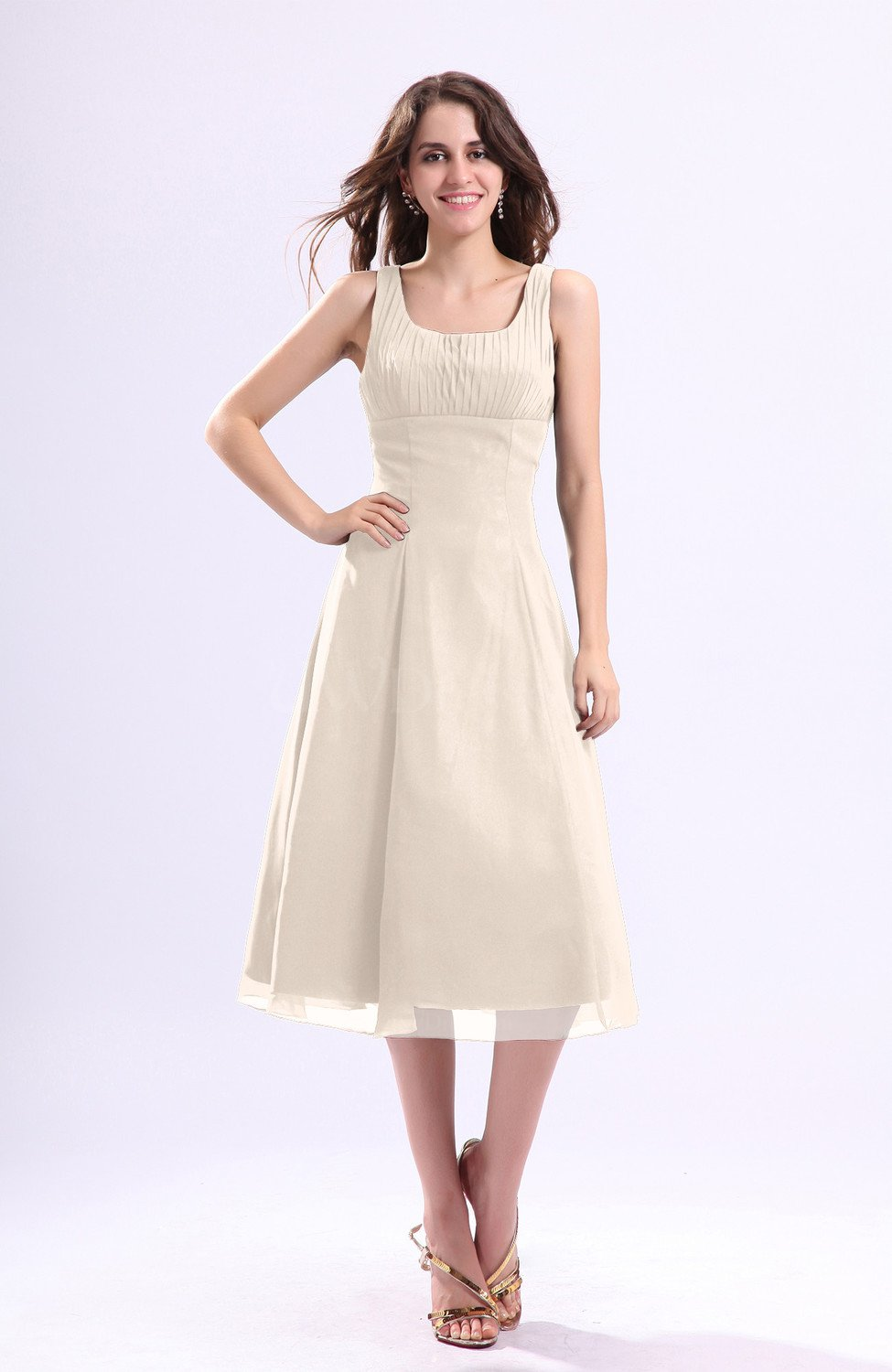 Cream simple a line square sleeveless zip up wedding guest for Simple cream wedding dresses