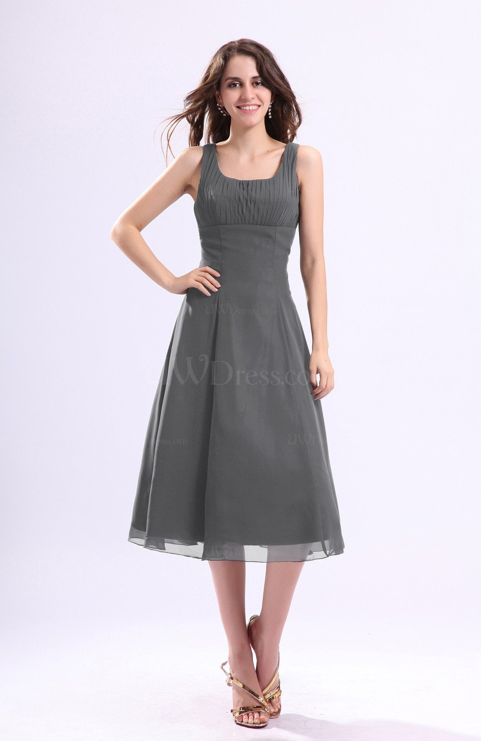 Grey Simple A Line Square Sleeveless Zip Up Wedding Guest