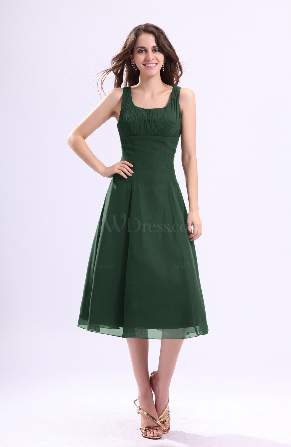 Hunter Green Simple A Line Square Sleeveless Zip Up