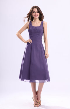 Lilac Simple A Line Square Sleeveless Zip Up Wedding Guest