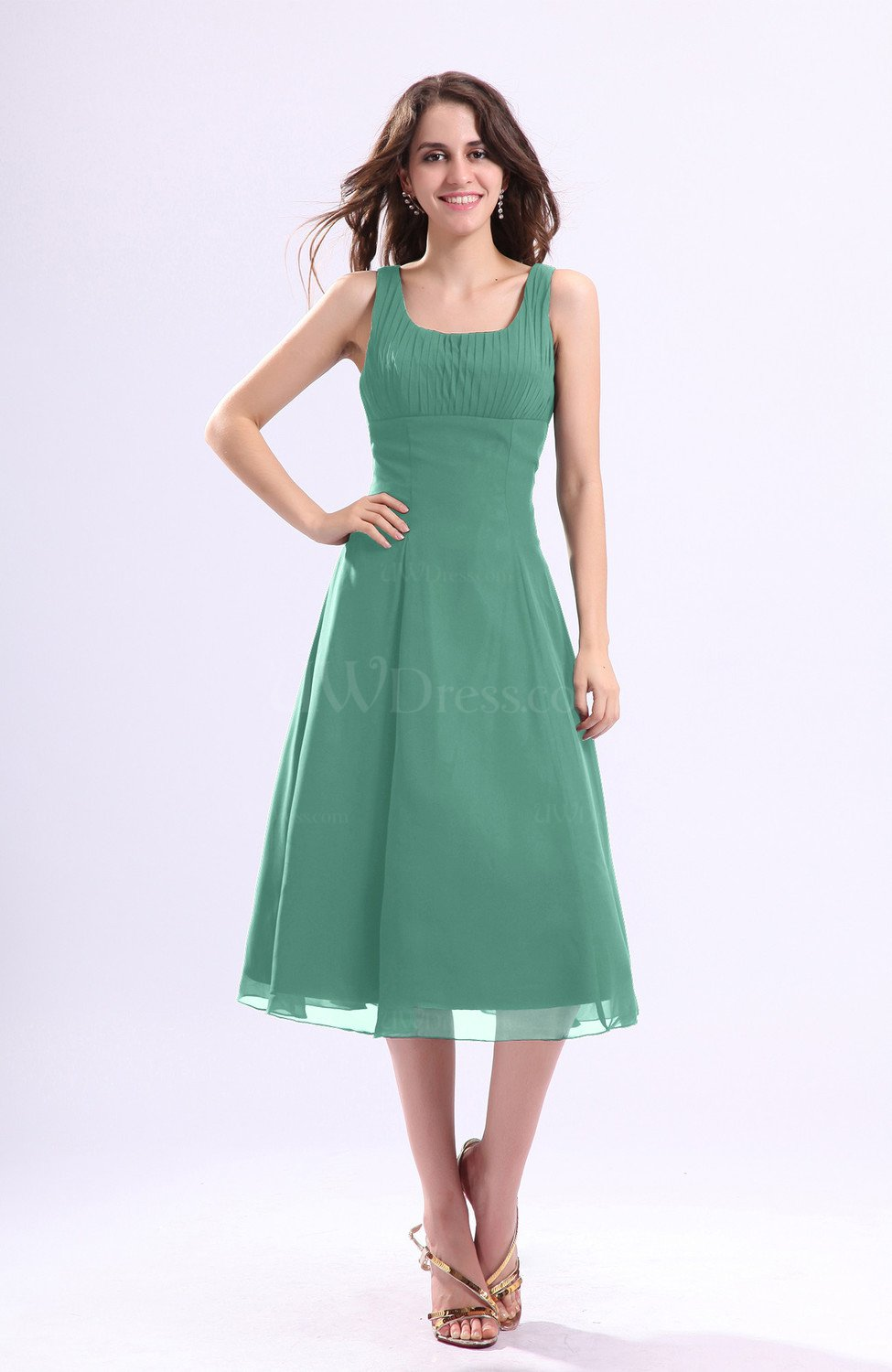 Mint green simple a line square sleeveless zip up wedding for Mint wedding guest dress