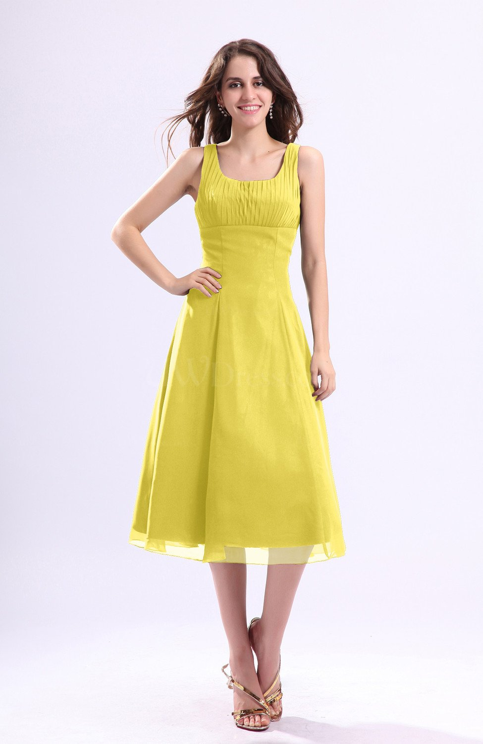 Pale yellow simple a line square sleeveless zip up wedding for Yellow dresses for wedding guests