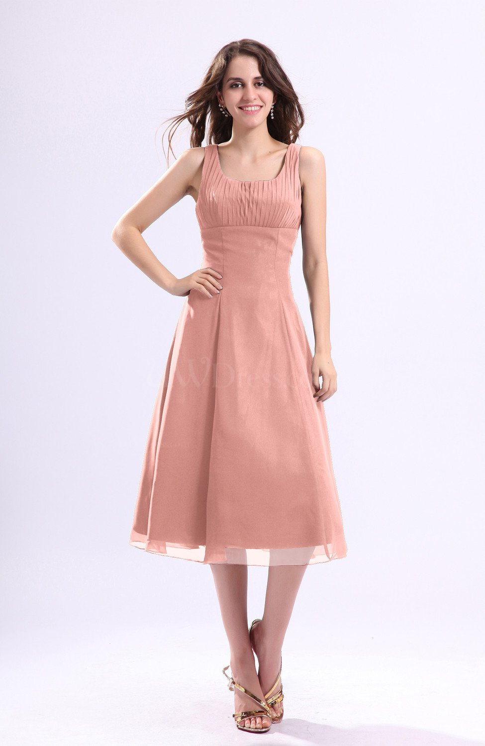 Peach simple a line square sleeveless zip up wedding guest for Peach dresses for wedding