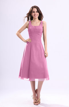 Pink Simple A-line Square Sleeveless Zip up Wedding Guest Dresses