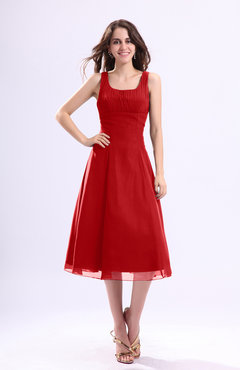 Red Simple A-line Square Sleeveless Zip up Wedding Guest Dresses