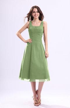 Sleeveless Tea Length Sage Green Dress