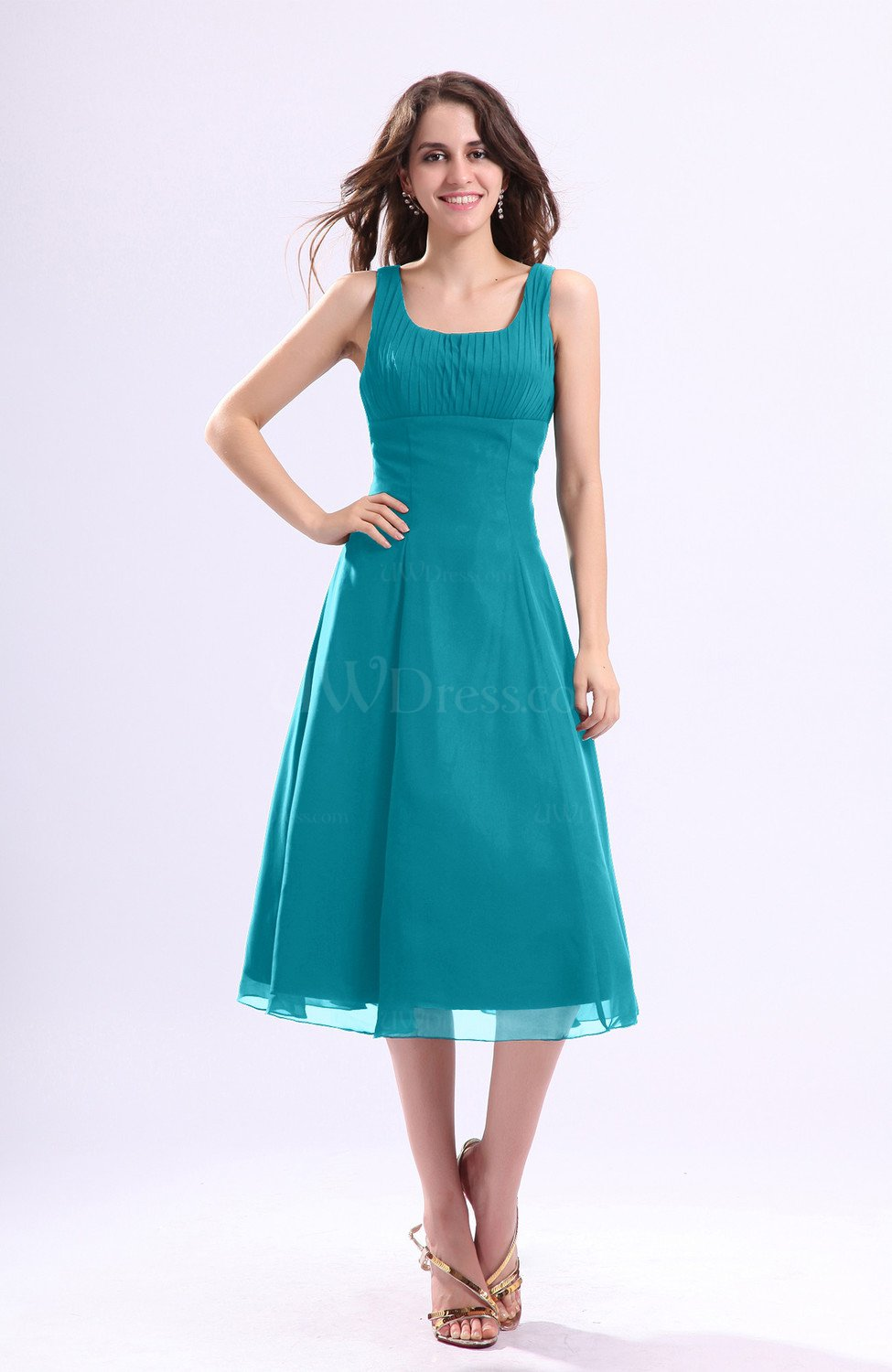 Teal Simple A-line Square Sleeveless Zip up Wedding Guest Dresses ...