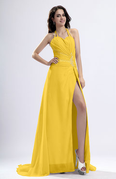 Yellow Sexy Sheath Halter Backless Pleated Evening Dresses