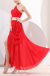 Romantic Asymmetric Neckline Sleeveless Backless Chiffon Ankle Length Wedding Guest Dresses