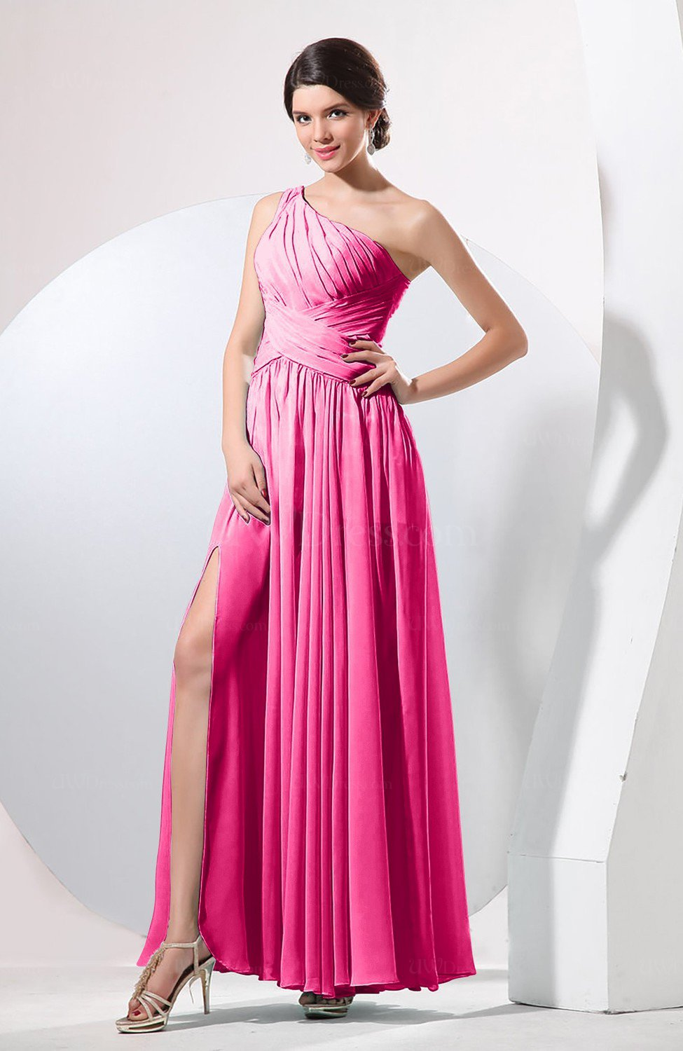 Fandango Pink Plain Sheath Sleeveless Floor Length Pleated Prom ...