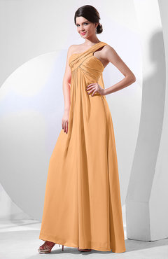 Apricot Elegant Empire One Shoulder Sleeveless Chiffon Bridesmaid Dresses