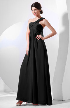 Black Elegant Empire One Shoulder Sleeveless Chiffon Bridesmaid Dresses