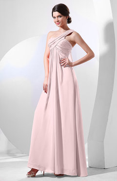 Blush Elegant Empire One Shoulder Sleeveless Chiffon Bridesmaid Dresses