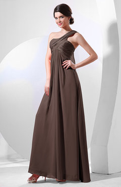 Chocolate Brown Elegant Empire One Shoulder Sleeveless Chiffon Bridesmaid Dresses