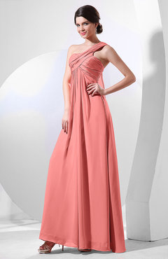 Coral Elegant Empire One Shoulder Sleeveless Chiffon Bridesmaid Dresses