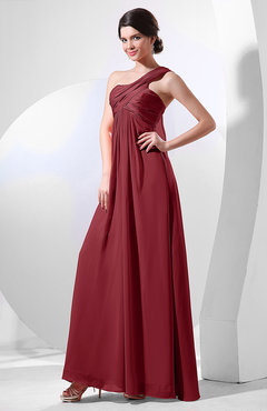 Dark Red Elegant Empire One Shoulder Sleeveless Chiffon Bridesmaid Dresses