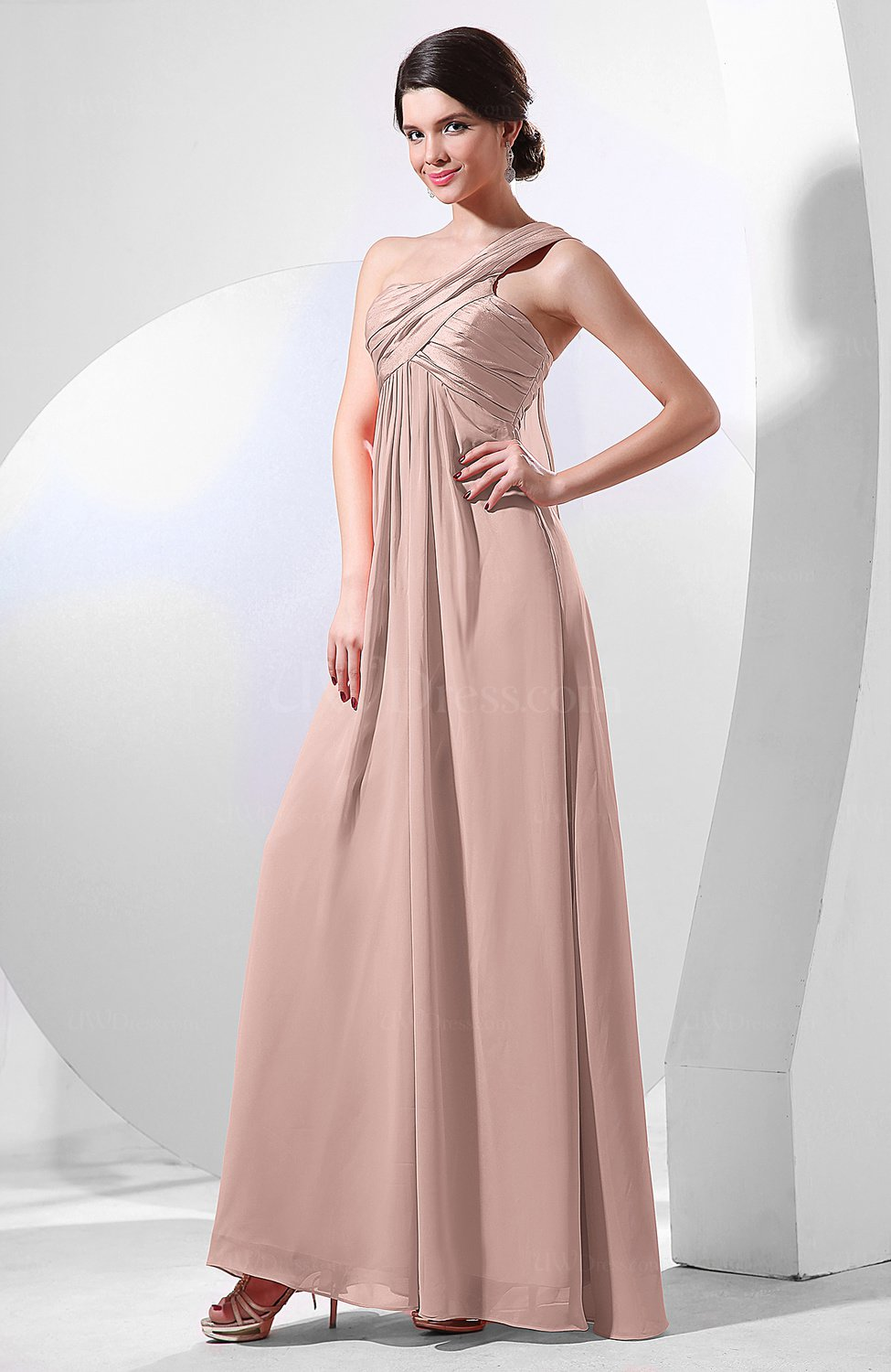 Dusty Rose Elegant Empire One Shoulder Sleeveless Chiffon Bridesmaid ...