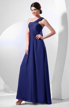 Electric Blue Elegant Empire One Shoulder Sleeveless Chiffon Bridesmaid Dresses