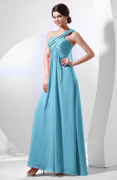 Light Blue Elegant Empire One Shoulder Sleeveless Chiffon Bridesmaid Dresses