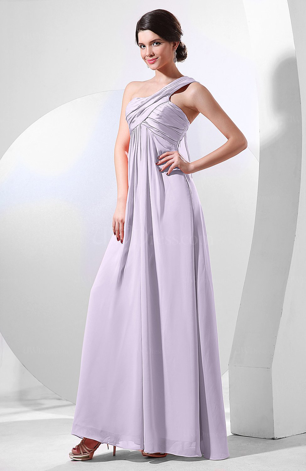 Light Purple Elegant Empire One Shoulder Sleeveless ...