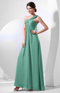 Mint Green Elegant Empire One Shoulder Sleeveless Chiffon Bridesmaid Dresses