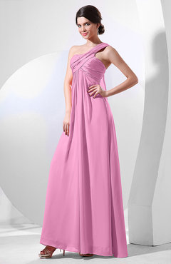Pink Elegant Empire One Shoulder Sleeveless Chiffon Bridesmaid Dresses