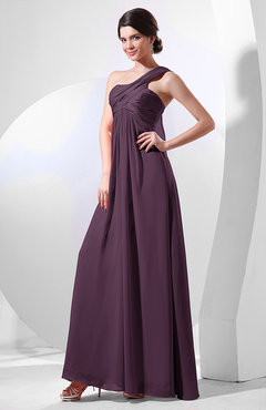 Plum Elegant Empire One Shoulder Sleeveless Chiffon Bridesmaid Dresses