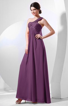 Raspberry Elegant Empire One Shoulder Sleeveless Chiffon Bridesmaid Dresses