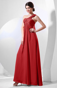 Red Elegant Empire One Shoulder Sleeveless Chiffon Bridesmaid Dresses