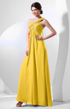 Yellow Elegant Empire One Shoulder Sleeveless Chiffon Bridesmaid Dresses