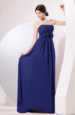 Electric Blue Elegant Empire Strapless Sleeveless Zip up Sweep Train Evening Dresses
