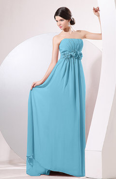 Light Blue Elegant Empire Strapless Sleeveless Zip up Sweep Train Evening Dresses