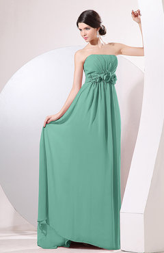Mint Green Elegant Empire Strapless Sleeveless Zip up Sweep Train Evening Dresses
