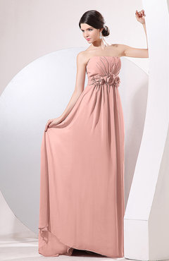 Peach Elegant Empire Strapless Sleeveless Zip up Sweep Train Evening Dresses