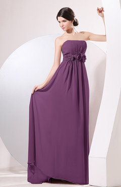 Raspberry Elegant Empire Strapless Sleeveless Zip up Sweep Train Evening Dresses