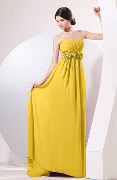 Yellow Elegant Empire Strapless Sleeveless Zip up Sweep Train Evening Dresses