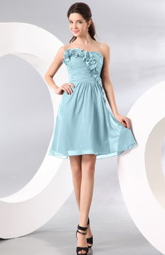 Aqua Plain A-line Strapless Sleeveless Zipper Knee Length Homecoming Dresses