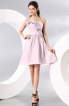 Blush Plain A-line Strapless Sleeveless Zipper Knee Length Homecoming Dresses