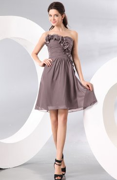 Cameo Plain A-line Strapless Sleeveless Zipper Knee Length Homecoming Dresses