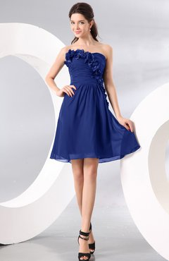 Electric Blue Plain A-line Strapless Sleeveless Zipper Knee Length Homecoming Dresses