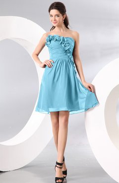Light Blue Plain A-line Strapless Sleeveless Zipper Knee Length Homecoming Dresses