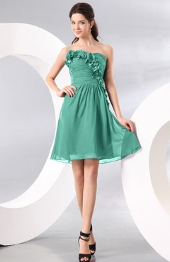 Mint Green Plain A-line Strapless Sleeveless Zipper Knee Length Homecoming Dresses
