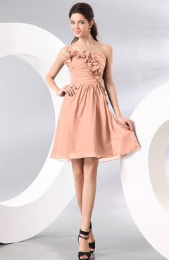 Peach Plain A-line Strapless Sleeveless Zipper Knee Length Homecoming Dresses