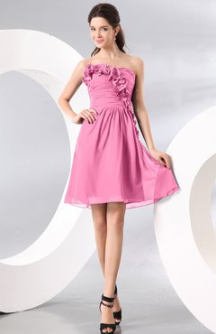 Pink Plain A-line Strapless Sleeveless Zipper Knee Length Homecoming Dresses