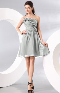 Platinum Plain A-line Strapless Sleeveless Zipper Knee Length Homecoming  Dresses